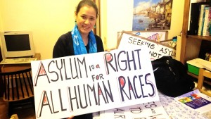 Gertrudes C. Samson preparing for a demo in support of asylum seekers