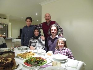 My hosts - three generations - at a home iftar meal