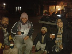 Louie Ybanez (r) drinking tea with Muslim friends in Pakistan