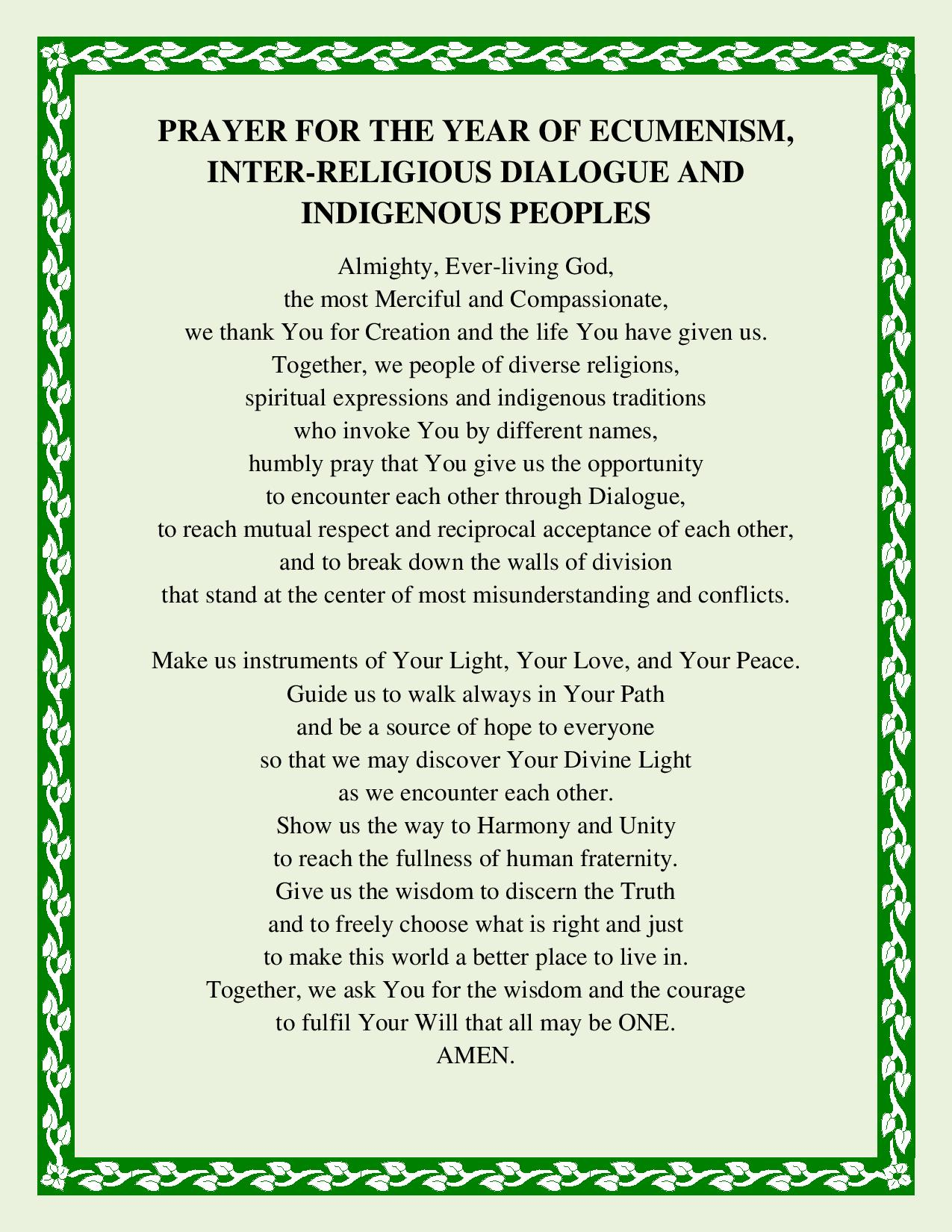 Prayer for the Year of Ecumenism, Interreligious Dialogue & Indigenous Peoples
